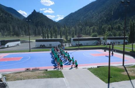 The Sports Court offers basketball and other sports.