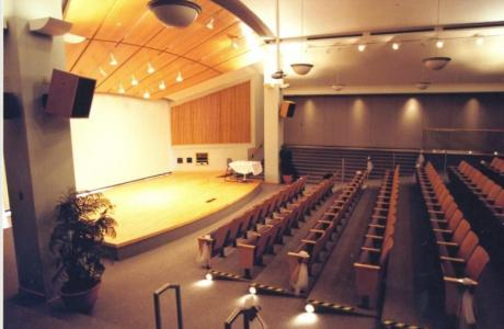 CN Conference Theatre features hardwood stage and optional window backdrop
