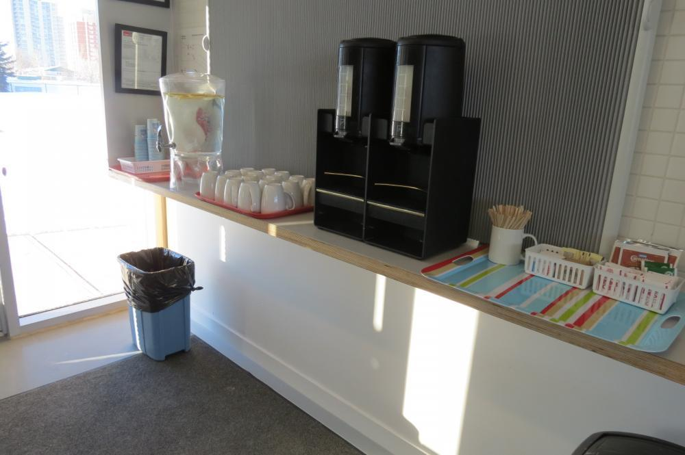 Coffee Bar.  Coffee, tea and hot chocolate included with rentals.