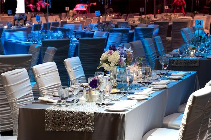 One of our rectangular table dressed and ready for a fabulous night!