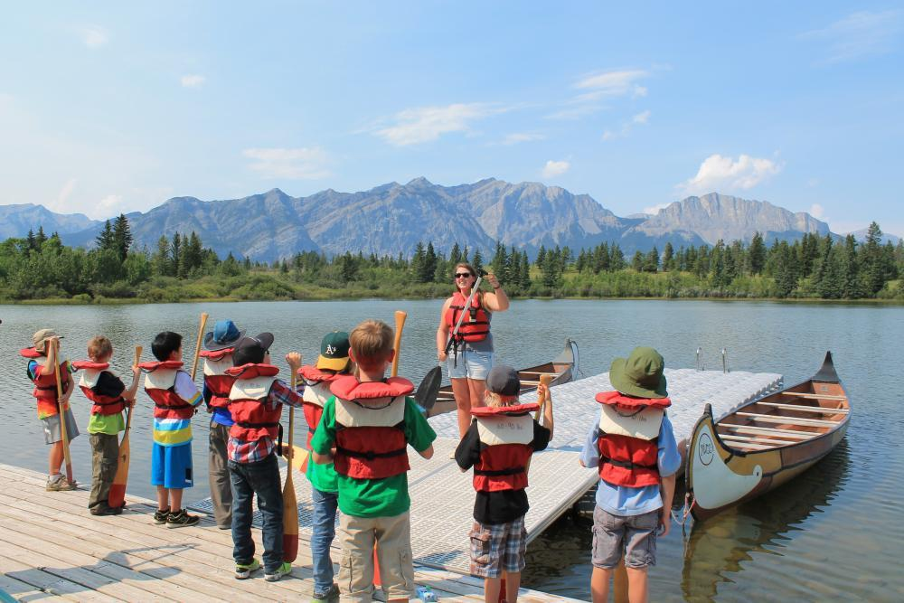 Voyageur Canoes on Chilver Lake - Camp Chief Hector, Canmore, Canadian Rockies