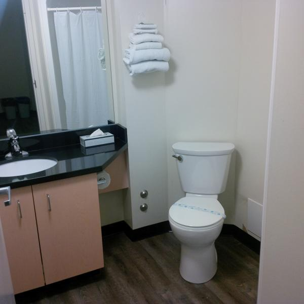 Private in-suite washroom with shower