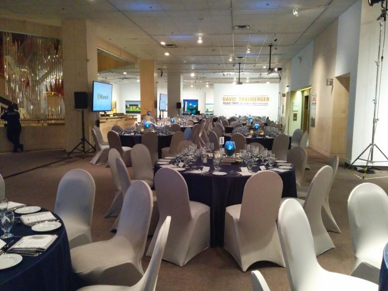 Second floor set up for sit down dinner for 150 people