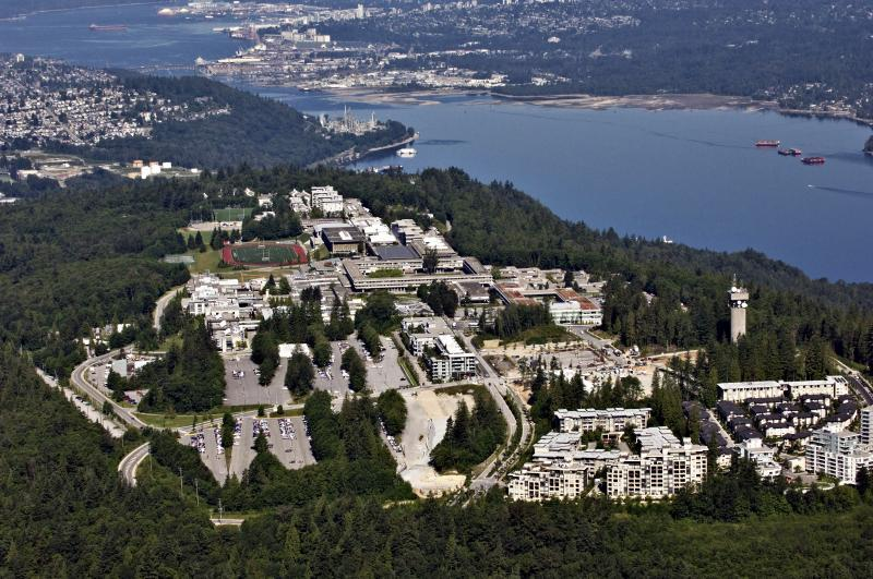 Simon Fraser University Ariel View looking West
