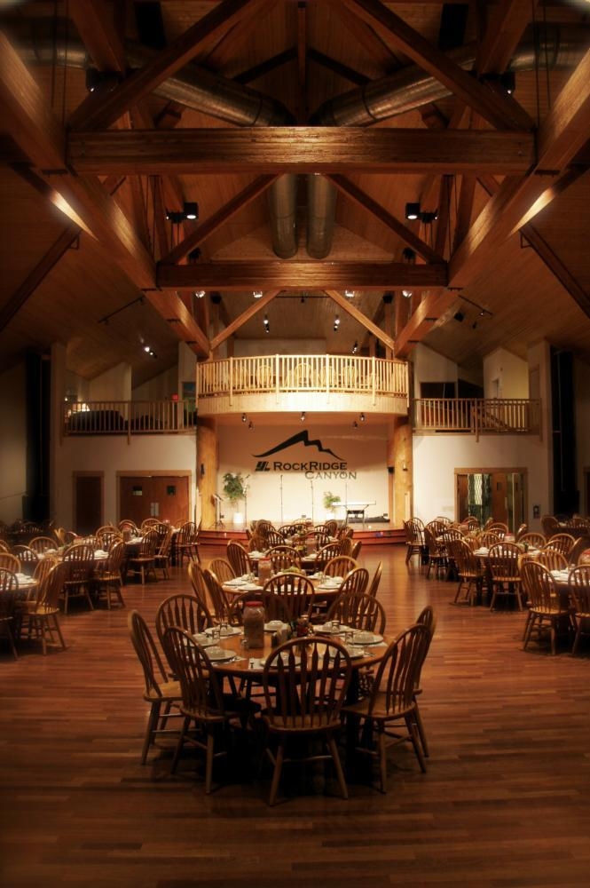 Spectacular dining hall, seating up to 450 guests.
