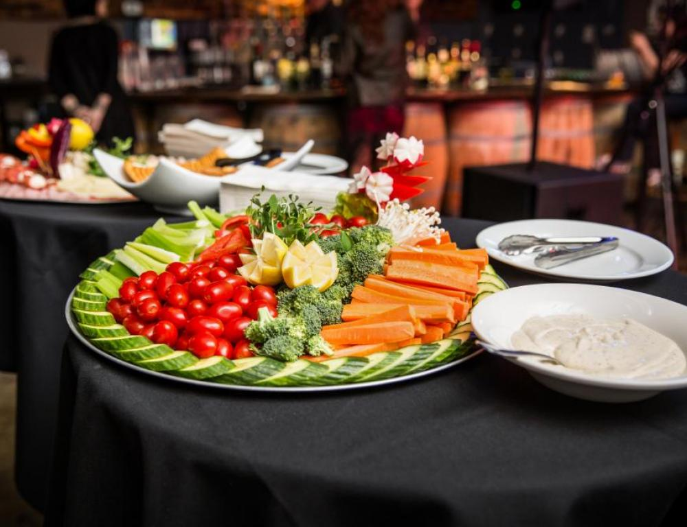 Vegetable tray, catering, event space, banquet