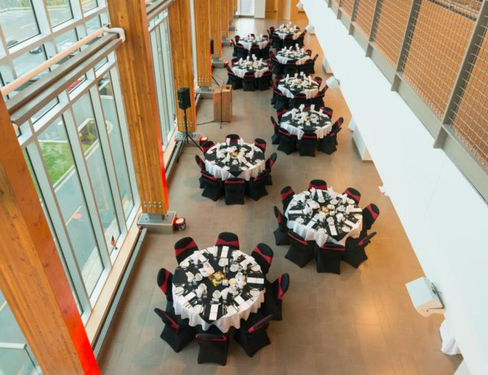 The Long Hall at UNB's Currie Center offers stunning views of the Saint John River
