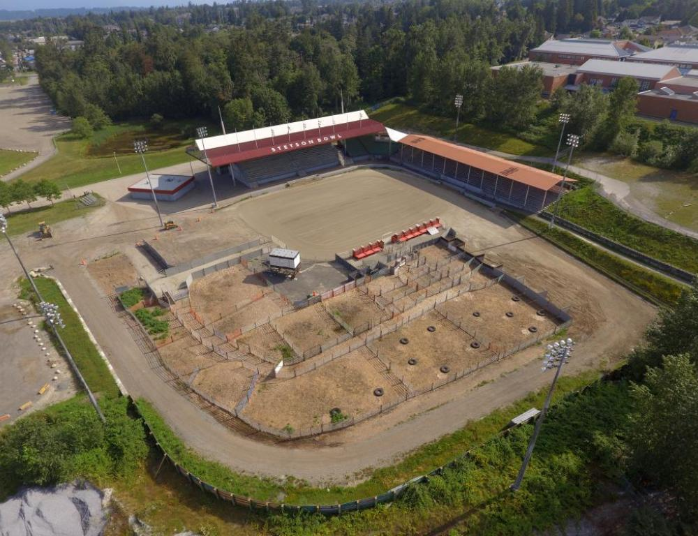 Aerial view of Stetson Bowl Stadium - Surrey, BC outdoor concert stadium